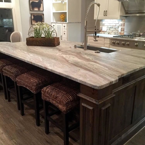 Fantasy Brown Kitchen Island Leathered