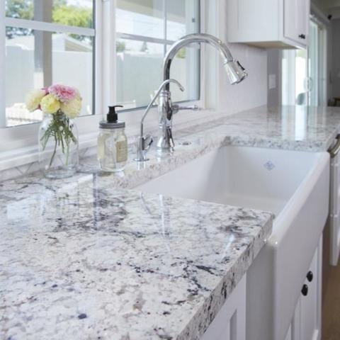 White Ice Granite Kitchen